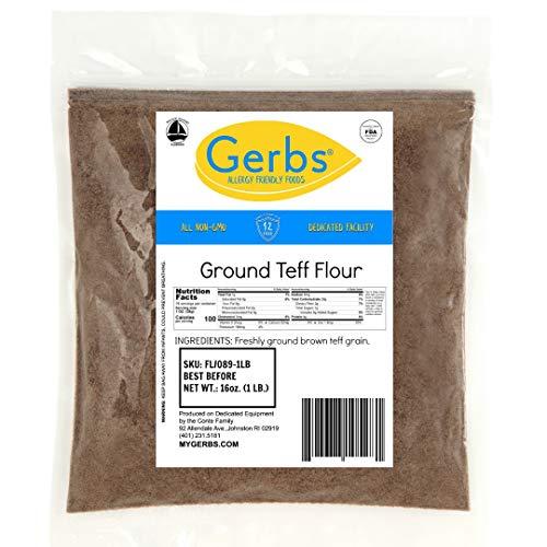 GERBS Teff Flour, 16 ounce Bag, Top 14 Food Allergen Free, Keto, Vegan, Non GMO