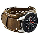 Coobes Compatible with Samsung Galaxy Watch 46mm/Galaxy Watch 3 45mm/Gear S3 Frontier/Classic Bands, 22mm Genuine Leather Cuff Bracelet Replacement Strap with Stainless Steel Buckle Men Women (Coffe)