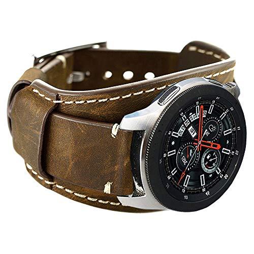 Coobes Compatibile con Samsung Galaxy Watch 46mm/Gear S3 Frontier/ Galaxy Watch 3 45mm/Classic Cinturino, in Vera Pelle Bracciale 22mm Cinturini Ricambio Fibbia in Acciaio Inossidabile(22mm, Caffè)