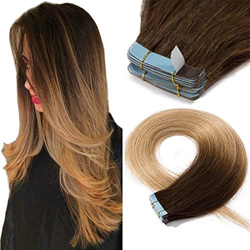 SEGO Extension Adesive Capelli Veri Biadesivo Tape Biadesive Human Hair Extensions 20 Ciocche 100% Remy 50g/Pack senza Clip (50cm, Castano Cioccolato shatush Biondo Scuro)