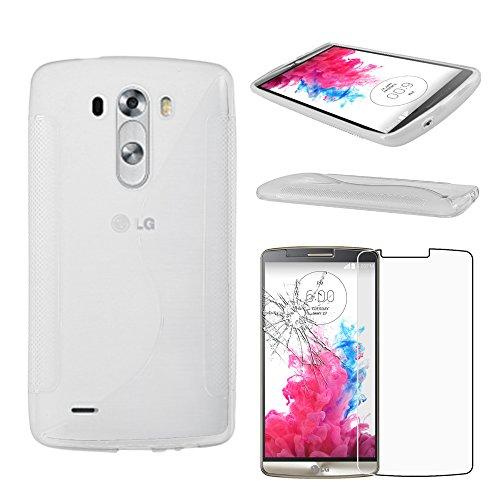 ebestStar - Funda Compatible con LG G3 D855 Carcasa Gel Silicona Gel TPU Motivo S-línea, S-Line Case Cover, Transparente + Cristal Templado Protector Pantalla [Aparato: 145.5 x 74.6 x 9.1mm, 5.5'']