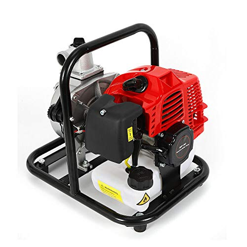 Futchoy 1' Engine Petrol Driven Water Transfer Pump Garden Jet Pump Irrigation Pump Machine for Cleaning Dirty Water,43CC 8100L/h 1.7HP 2-Stroke