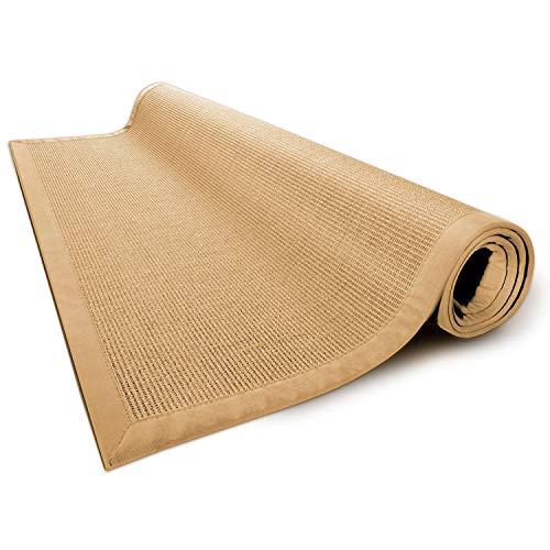 casa pura® Sisal Teppich aus Naturfasern mit Bordüre aus Baumwolle | pflegeleicht | Größe wählbar (Natur, 200 x 290 cm)
