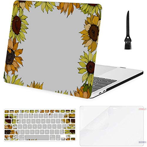 MacBook Pro Case Sunflower Floral Botanical Flowers Yellow Vector MacBook Pro 15'(NO CD-ROM,2016-2018 Ver) A1707/A1990 Plastic Case Keyboard Cover & S