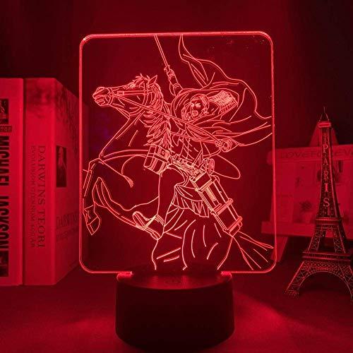 Conasmyy 3D Night Light Anime Attack On Titan lámpara 3d Erwin Smith Light para decoración de dormitorio niños regalo Attack On Titan
