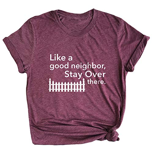 Spunky Pineapple Like a Good Neighbor, Stay Over There Funny Social Distancing Premium Unisex T-Shirt Maroon