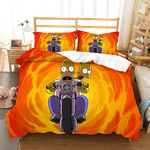 SK-LBB The Simpsons Duvet Cover Set, All-season Bedding Set for Teenage Girls, Zipper Opening and Closing 3D Animation Printing Soft Microfiber (04,King 220X240CM)