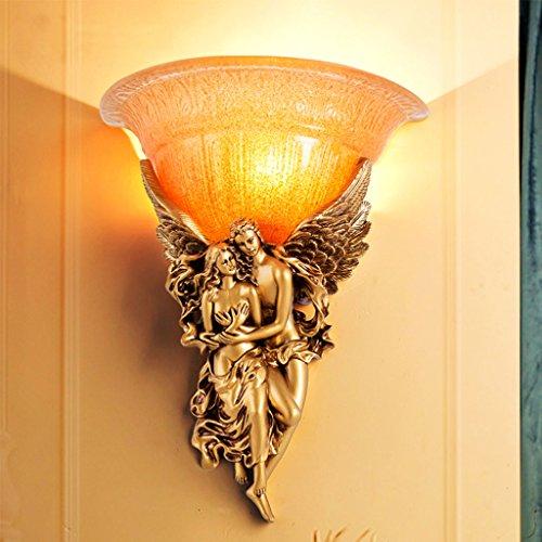 HMLIFE Wandlamp voor in de slaapkamer, nachtkastje, engel-sculptuur, woonkamer, creatieve eenvoudige loop, trappen, led-decoratie, carving kunst, nachtlampje