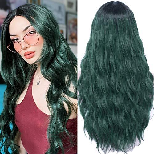 Perücke Grün Damen Lang locken gewellte Kunsthaarperücke für Frauen Mittelteil Mode Super Natürlich Wig Grün DE026E