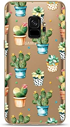Samsung Galaxy S9 Case,Blingy's New Cute Cactus Style Transparent Clear Soft TPU Protective Case Compatible for Samsung Galaxy S9 (Cactus Pots)