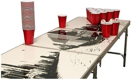 Skyline Beer Pong Set - 1 Bierpong Tisch inkl. 50 SOLO rot Cups und 6 B en