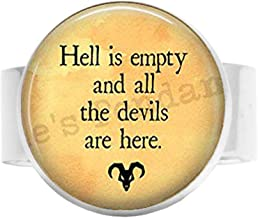 hakespeare Tempest Quote - Hell is Empty and All The Devils are here - Shakespeare Adjustable Ring Literary Jewelry