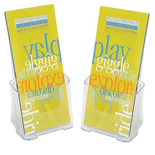 "1InTheOffice Brochure Holder, Plastic Literature Holder, 4""W x 3""D""2 Pack"""