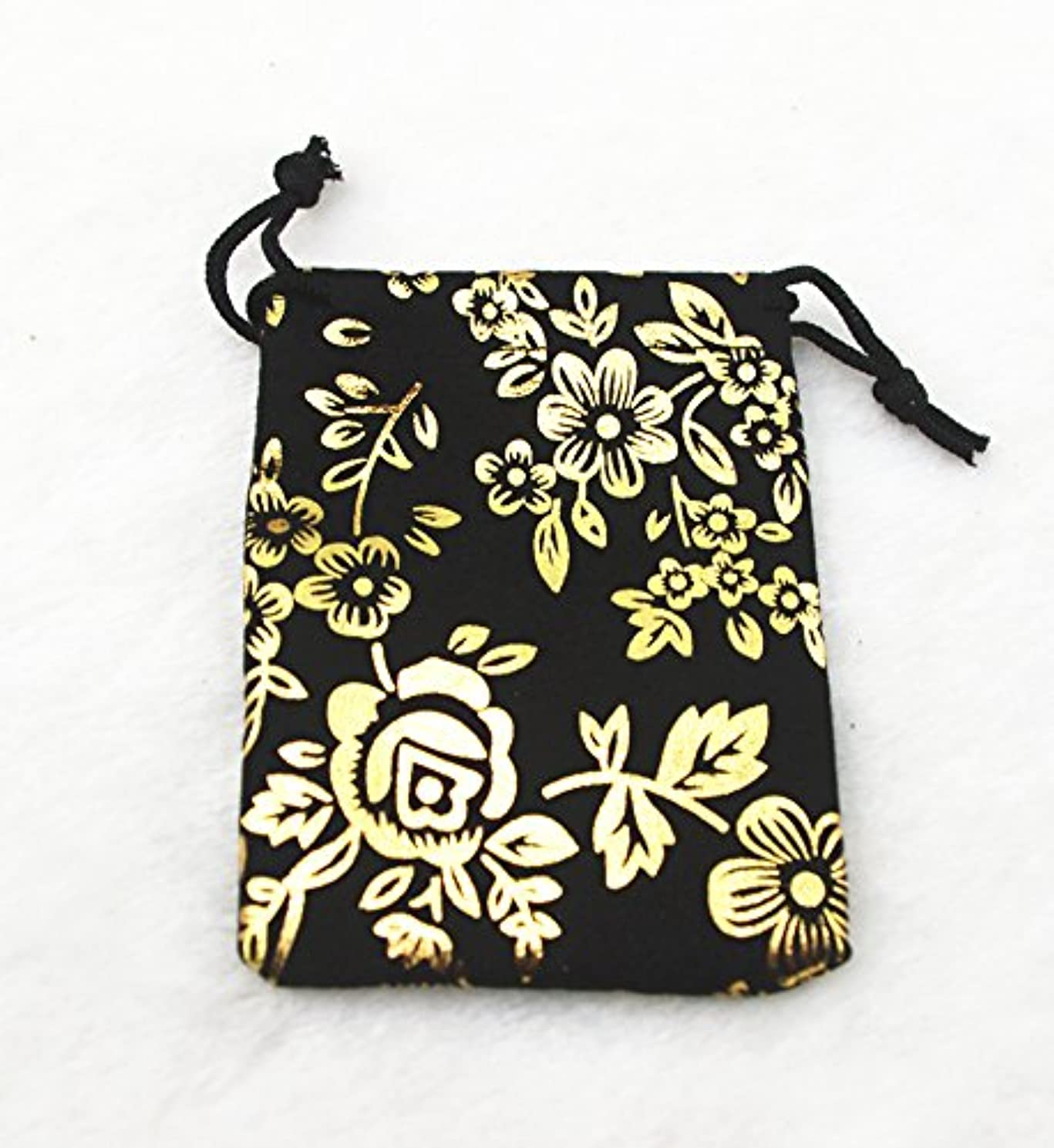 AEAOA Pack of 10 Velvet Gift Bags Drawstring Jewelry Pouches Candy Bags Wedding Favors (4x6 inches, Gold Flower)