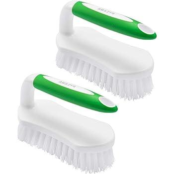 Amazer Scrub Brush Comfort Grip & Flexible Stiff Bristles Heavy Duty for Bathroom Shower Sink Carpet Floor - Pack of 2 (Green+Green)