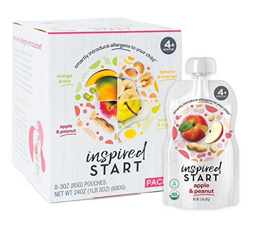 Early Allergen Introduction Baby Food: Inspired Start Pack 1, 3 oz. (Pack of 8 baby food pouches) - Organic, Non-GMO, include peanut, treenut, soy and egg in babys diet