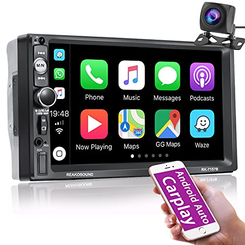 Nhopeew Double Din Car Stereo Support Apple Carplay, 7 inch Bluetooth Touchscreen Car Radio with HD Backup Camera