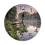 丸い壁時計の家の装飾、ナチュラ湖