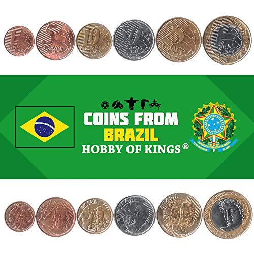 Set Mit 6 Münzen Aus Brasilien. 1, 5, 10, 25, 50 Centavos, 1 Real. Brasilianische Währung 1998-2019