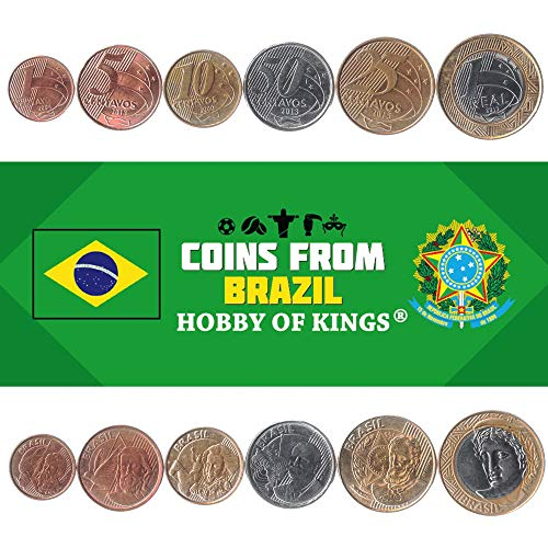 Hobby of Kings Set di 6 Monete dal Brasile. 1, 5, 10, 25, 50 Centavos, 1 Real. Valuta Brasiliana 1998-2019