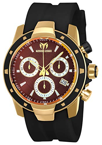 Technomarine Men's UF6 Stainless Steel Quartz Watch with Silicone Strap, Black, 24 (Model: TM-615005)