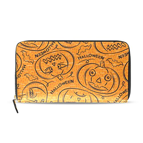 Ahomy Damen Geldbörse mit Reißverschluss, Halloween, Kürbis-Laterne, Fledermaus, PU-Leder