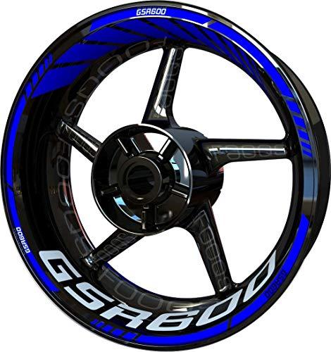 Motocicleta Moto Llanta Inner Rim Tape Decal Pegatinas F2 para Suzuki GSR 600 (Azul 2)