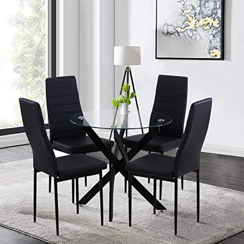 GOLDFAN Esstisch Glas und 4 Stühle Runder Tisch und Schwarz Stuhl Esszimmergruppe für Wohnzimmer Küche Büro
