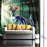 ZZXIAO Sunny Elk Fresh Living Room Tv Fondo Papel Tapiz Decoración Dormitorio Decoración Fotomural sala Pared Pintado Papel tapiz no tejido-350cm×256cm