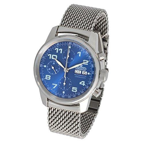 ARISTO Herren Automatik Chronograph Armbanduhr 4H174M ETA Valjoux 7750 Milanaise Armband poliert