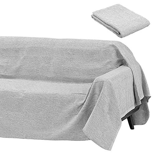 Cubre sofá Gris Multiusos de algodón y poliéster de 180x220 cm - LOLAhome