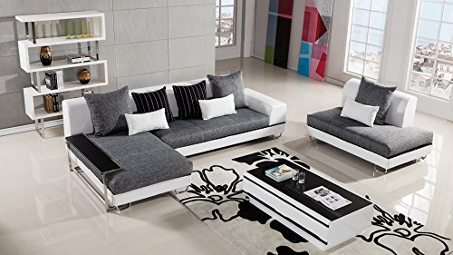 American Eagle Furniture Portland Collection Contemporary Living Room Fabric Upholstered Sectional Sofa With Left Facing Chaise, Gray/White