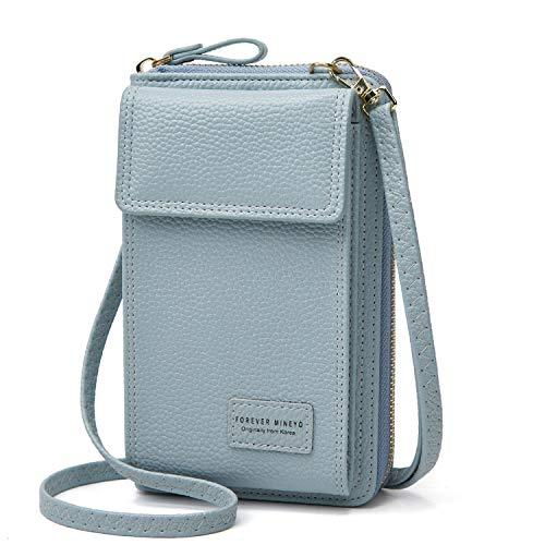 Jmart Crossbody Cell Phone Bag Wallet Purse Case for iPhone 12 Pro 11 XS XR 8 7 Samsung Galaxy S20 S10 S9 S8 A11 A21 A51 A71 A20 Clutch Women Girls Shoulder Handbag Pocket Pouch Card Holder [Blue]