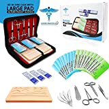 Suture Practice Kit w Suturing Guide E-Book,[Large Case Large Pad & Variety of Sutures w S...