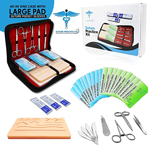 Suture Practice Kit w Suturing Guide E-Book,[Large Case Large Pad & Variety of Sutures w Slots] 4th Gen Pad, Tools Suture Needles by Medical Professionals for Residents Med Dental Vet School Students