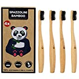 4x Cepillos de dientes de bambú natural ecológico | Mango de madera 100% biodegradable recyclable | Cerdas de dureza media | Embalaje reciclable sin plástico | Paquete de 4 piezas