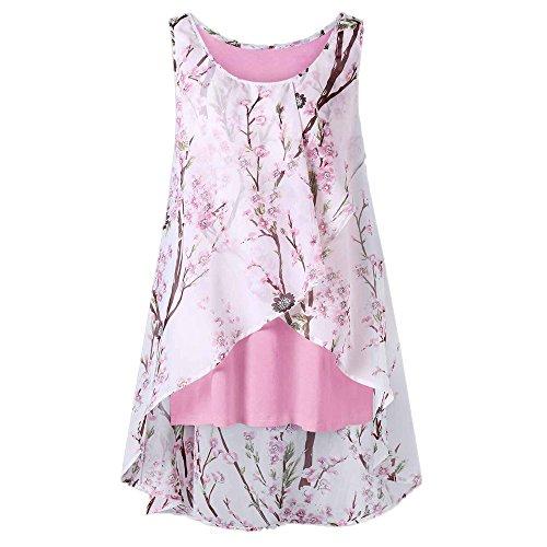 OverDose Damen Sommer Ärmellos O-Ausschnitt Casual Chiffon Solide Weste Bluse Tank Tops Camis Frauen T Shirt Tees (EU-42/CN-S, Y-Rosa)