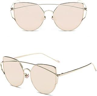 SMA 眼镜高级女士时尚 BLAKE 金属醋酸酯镜面镜片太阳镜 UV400(金色,粉色)