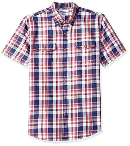 Amazon Essentials Men's Slim-Fit Short-Sleeve Two-Pocket Twill Shirt, White/red Plaid, XX-Large