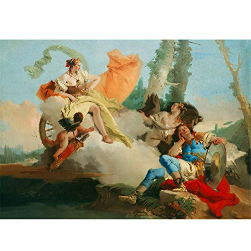 empty Giovanni Battista Tiepolo:Armida Encounters The Sleeping Paintings Canvas Wall Art for Living Room Bedroom Decor 60x90cm No Frame
