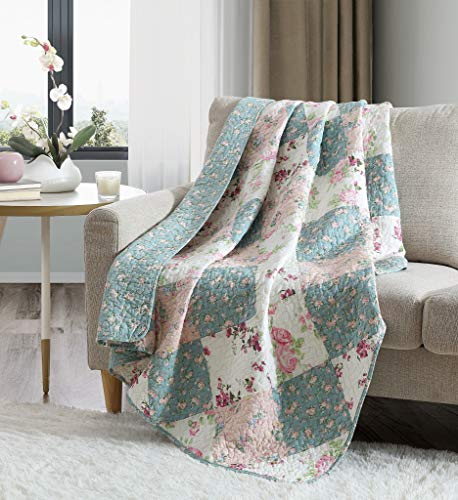Chezmoi Collection Jolie 1-Piece Garden Floral Vintage Washed 100%-Cotton Reversible Diamond Patchwork Quilted Throw Blanket