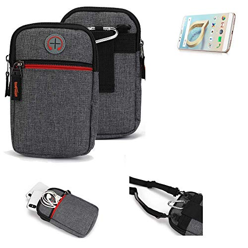K-S-Trade® Gürtel-Tasche Für Alcatel A7 XL Handy-Tasche Holster Schutz-hülle Grau Zusatzfächer 1x
