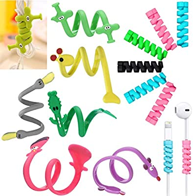 Josi Minea [9 Pcs] Colorful Cable Saver Protector & [6 Pcs] Animal Shaped Cord Tie Cable Organizer Compatible with Apple iPhone/iPad/iWatch Samsung Galaxy USB Charging & Earphone Cords [15 Pack]