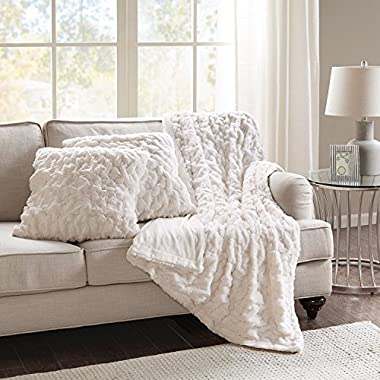 Comfort Spaces Faux Fur Throw Blanket Set – Fluffy Plush Blankets for Couch and Bed – Ivory Size 50  x 60  with 2 Square Pillow Covers 20  x 20
