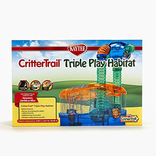 Kaytee Critter Trail Triple Play 3 in One Habitat for Hamsters,Blue,17.25 Inches x 11.5 Inches x 19.25 Inches