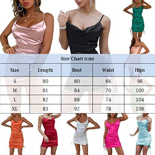 Vestido Satén Mini para Mujer Color sólido Vestido Fiesta Corto Sexy con Tirantes Ajustado Vestido Moderno con Arrugas y Cordones (Verde, XL)