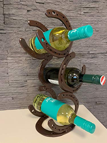 Hufeisen Weinregal, Flaschenhalter, ideales Geschenk für Pferdeliebhaber, Braun pulverbeschichtet für 3 Flaschen