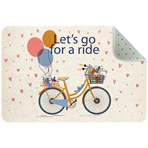 Alfombra de cocina lavable alfombra de entrada alfombra de escritorio baño acento alfombra vintage Let's Go For A Ride bicicleta floral
