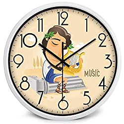Guitar Drum Electronic Piano Zither, Music Theme Player Wall Clock,A117W,14 Inch