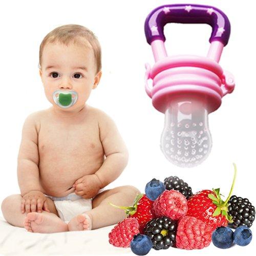 Gesunde Ernährung von Babys und Kleinkinder durch Fruchtsauger mit Gemüse und Obst fördern - Vitamine einfach und sicher zuführen (Pink)